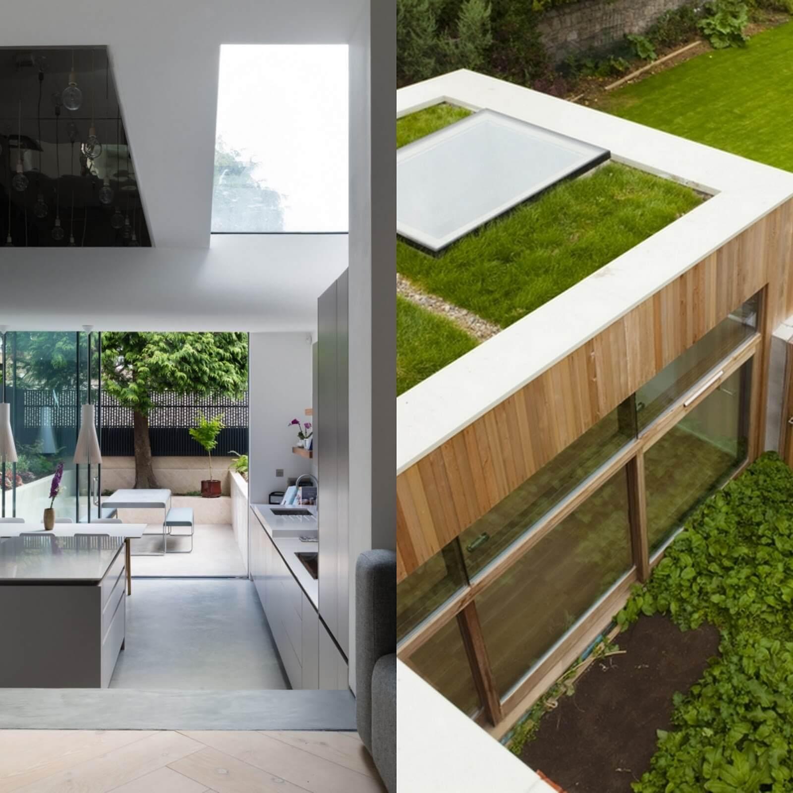 Beispiel: begehbares Glas in einem Gründach