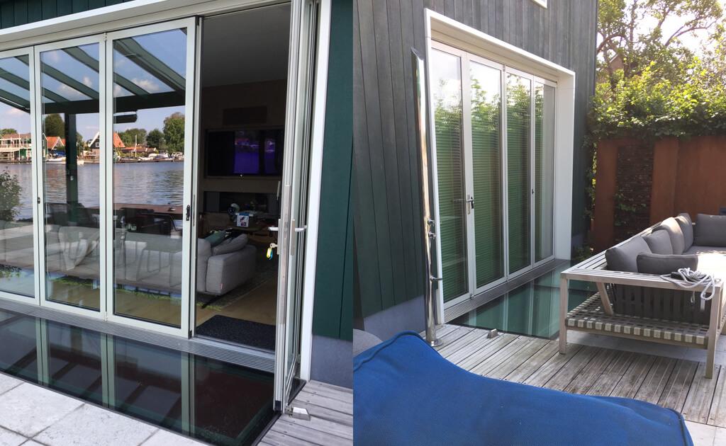 Begehbares Glas als Lichtstreifen entlang der Flügeltüren zur Terrasse