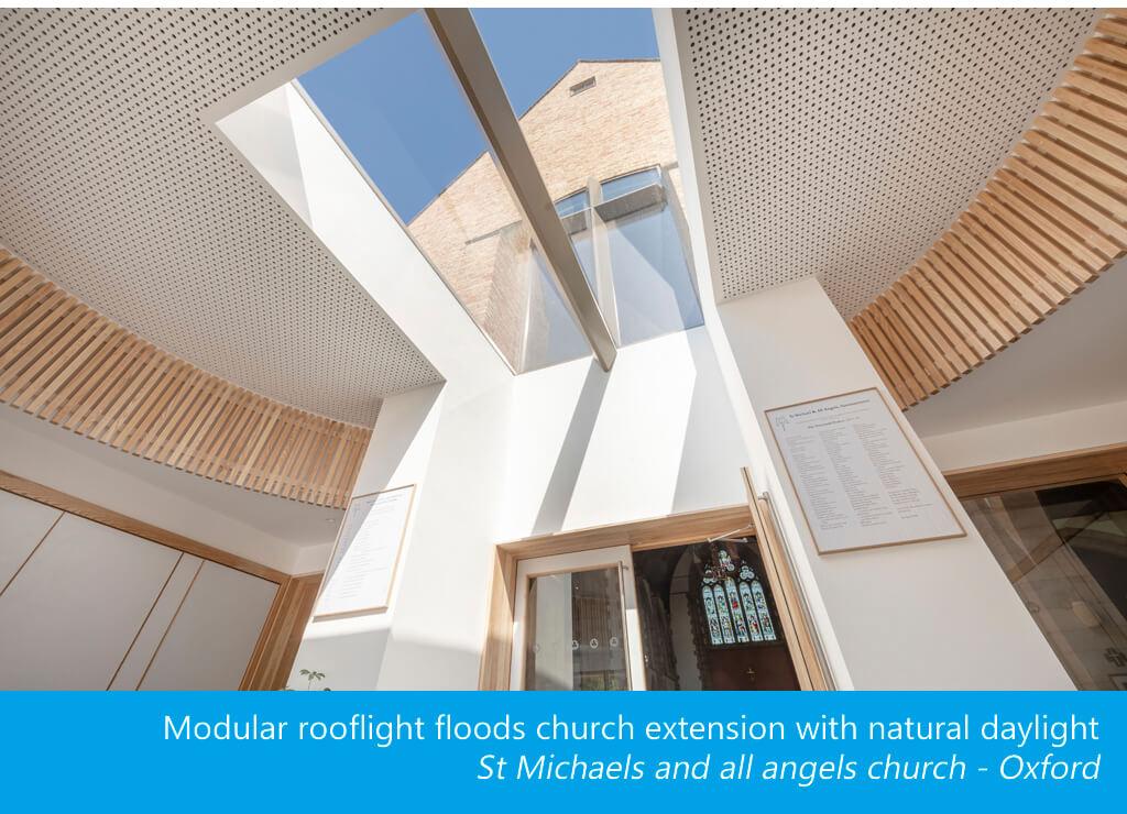 Modular rooflight St Michaels church flood of daylight